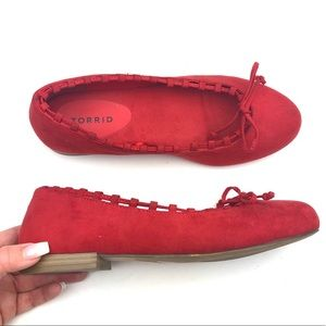 TORRID Red Whip Stitch Flats